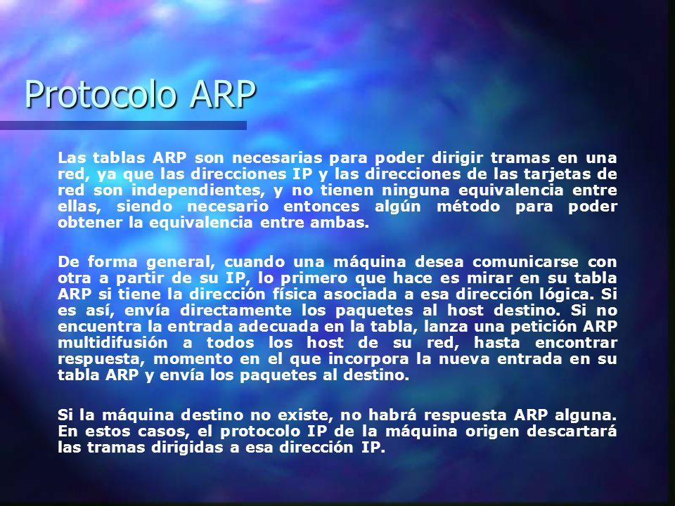 Protocolo ARP Las tablas ARP son necesarias para poder dirigir tramas en una red, ya que las direcciones IP y las direcciones de las tarjetas de red s