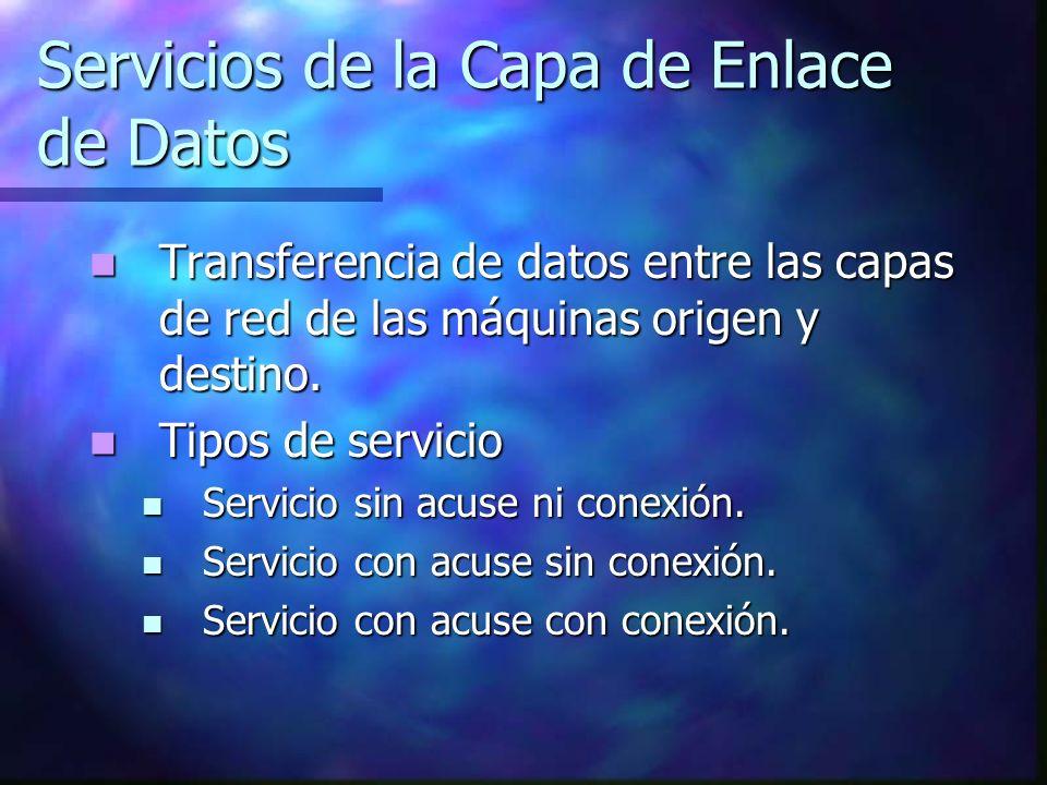 Servicios de la Capa de Enlace de Datos Transferencia de datos entre las capas de red de las máquinas origen y destino. Transferencia de datos entre l
