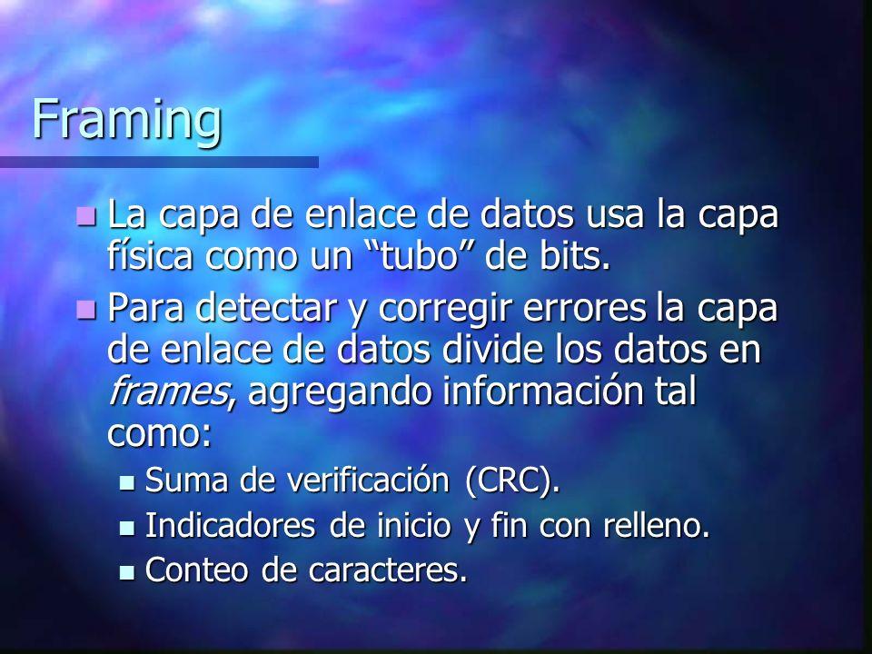 Framing La capa de enlace de datos usa la capa física como un tubo de bits. La capa de enlace de datos usa la capa física como un tubo de bits. Para d