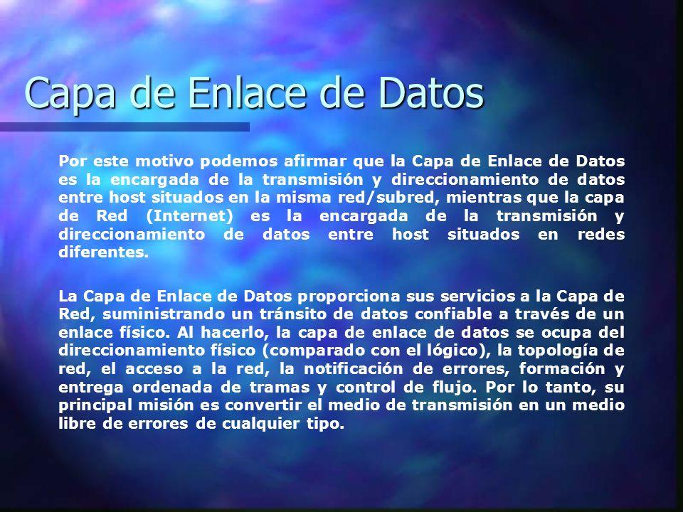 Capa de Enlace de Datos Por este motivo podemos afirmar que la Capa de Enlace de Datos es la encargada de la transmisión y direccionamiento de datos e