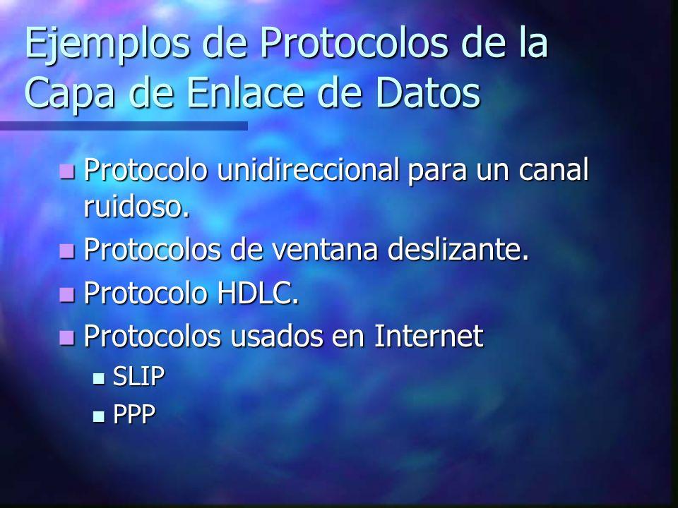 Ejemplos de Protocolos de la Capa de Enlace de Datos Protocolo unidireccional para un canal ruidoso. Protocolo unidireccional para un canal ruidoso. P