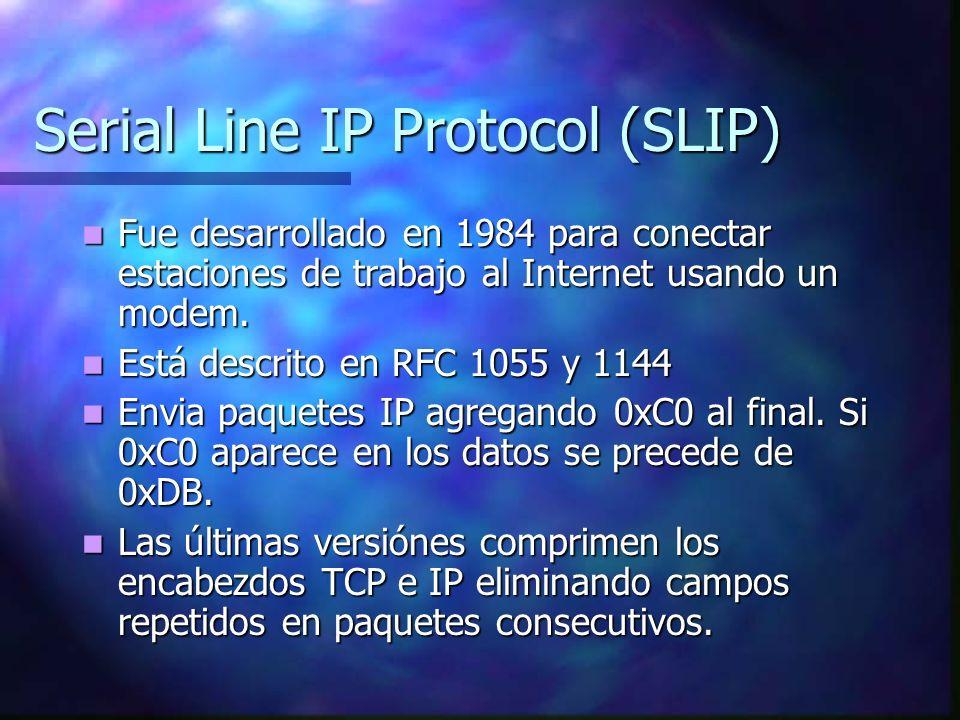 Serial Line IP Protocol (SLIP) Fue desarrollado en 1984 para conectar estaciones de trabajo al Internet usando un modem. Fue desarrollado en 1984 para