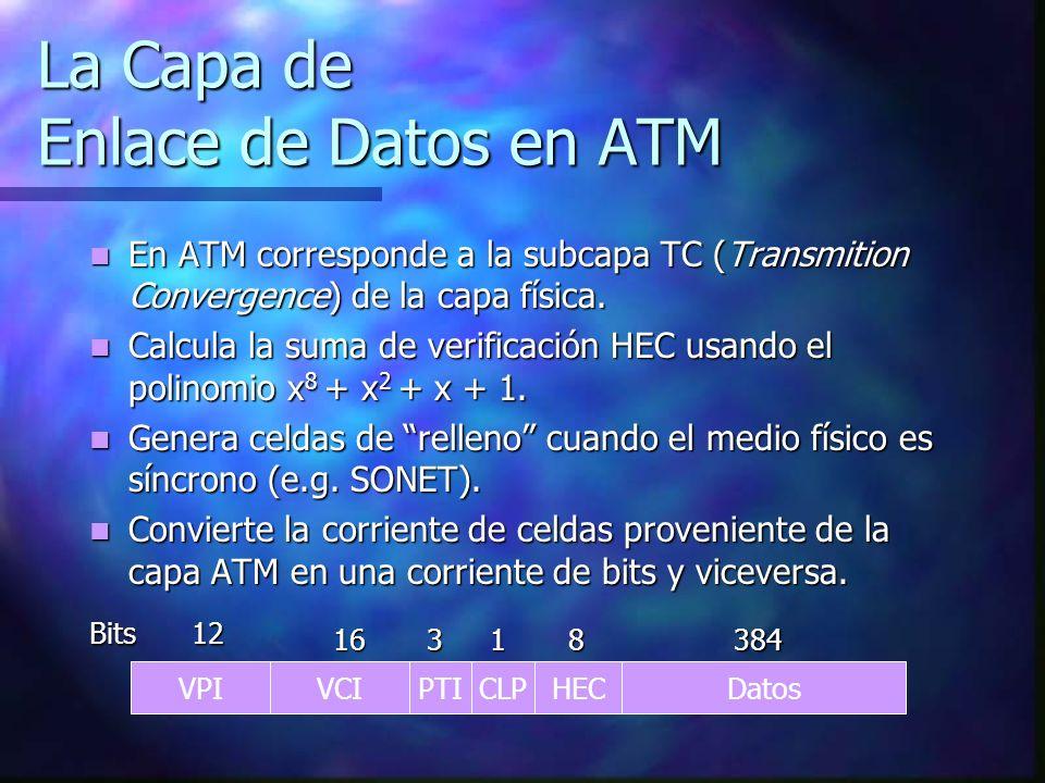 La Capa de Enlace de Datos en ATM En ATM corresponde a la subcapa TC (Transmition Convergence) de la capa física. En ATM corresponde a la subcapa TC (
