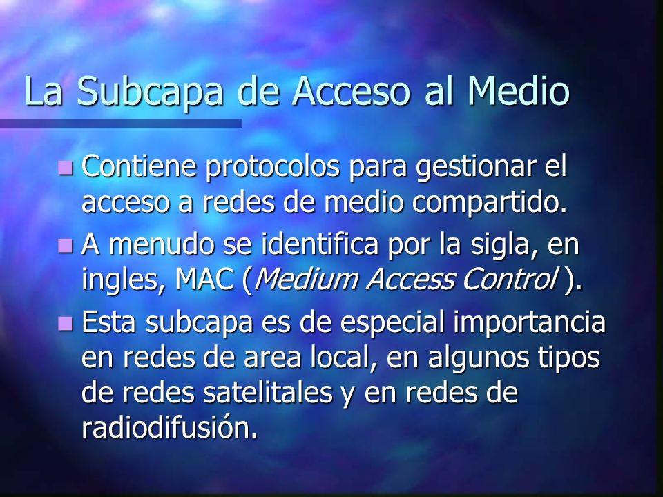 La Subcapa de Acceso al Medio Contiene protocolos para gestionar el acceso a redes de medio compartido. Contiene protocolos para gestionar el acceso a