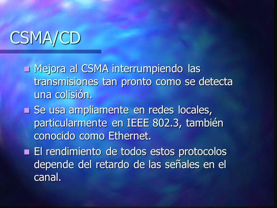 CSMA/CD Mejora al CSMA interrumpiendo las transmisiones tan pronto como se detecta una colisión. Mejora al CSMA interrumpiendo las transmisiones tan p