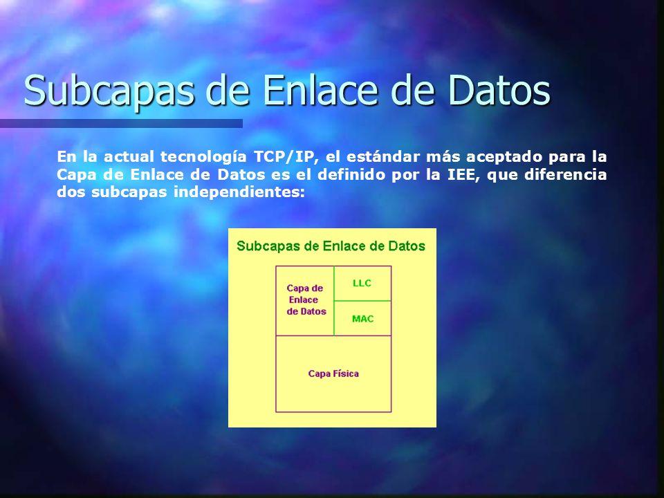 Subcapas de Enlace de Datos En la actual tecnología TCP/IP, el estándar más aceptado para la Capa de Enlace de Datos es el definido por la IEE, que di