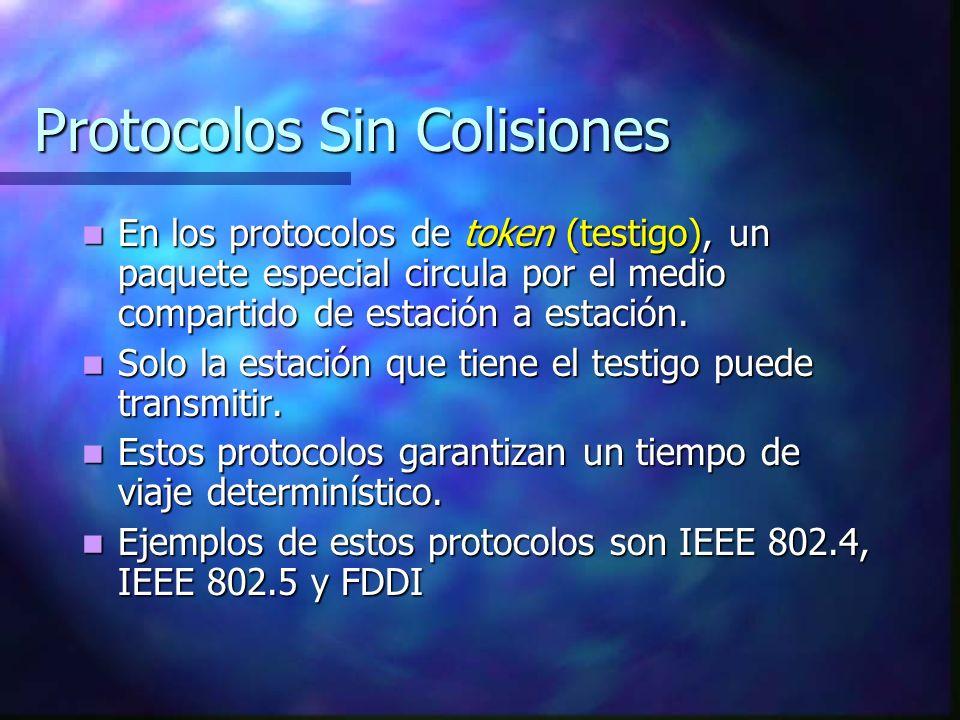 Protocolos Sin Colisiones En los protocolos de token (testigo), un paquete especial circula por el medio compartido de estación a estación. En los pro