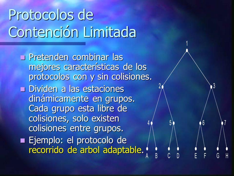 Protocolos de Contención Limitada Pretenden combinar las mejores características de los protocolos con y sin colisiones. Pretenden combinar las mejore