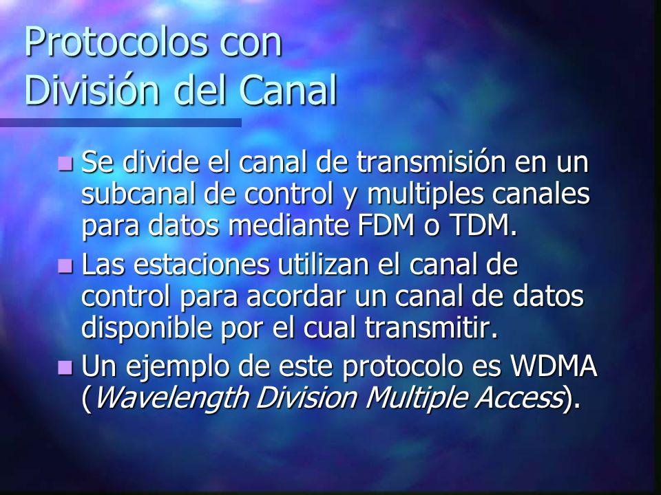 Protocolos con División del Canal Se divide el canal de transmisión en un subcanal de control y multiples canales para datos mediante FDM o TDM. Se di