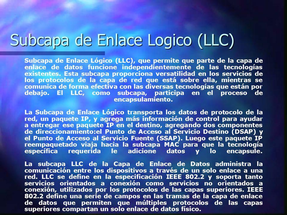 Subcapa de Enlace Logico (LLC) Subcapa de Enlace Lógico (LLC), que permite que parte de la capa de enlace de datos funcione independientemente de las