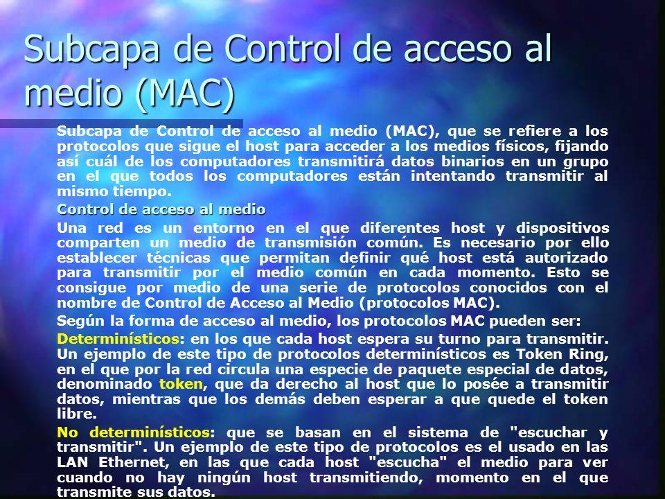 Subcapa de Control de acceso al medio (MAC) Subcapa de Control de acceso al medio (MAC), que se refiere a los protocolos que sigue el host para accede