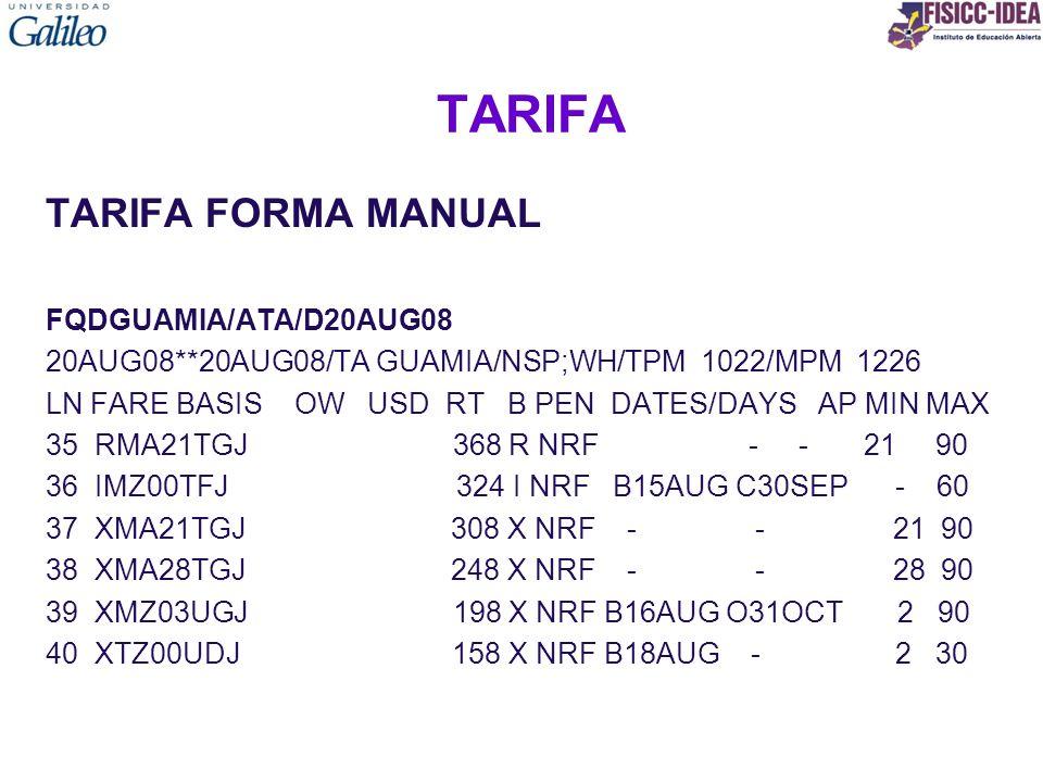 TARIFA TARIFA FORMA MANUAL FQDGUAMIA/ATA/D20AUG08 20AUG08**20AUG08/TA GUAMIA/NSP;WH/TPM 1022/MPM 1226 LN FARE BASIS OW USD RT B PEN DATES/DAYS AP MIN