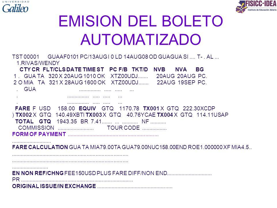 EMISION DEL BOLETO AUTOMATIZADO TST 00001 GUAAF0101 PC/13AUG I 0 LD 14AUG08 OD GUAGUA SI.... T-. AL... 1.RIVAS/WENDY CTY CR FLT/CLS DATE TIME ST PC F/