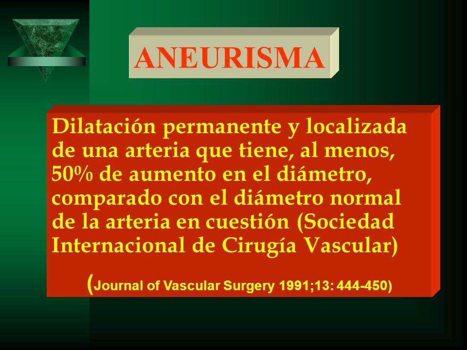 ANEURISMA Dilatación permanente y localizada de una arteria que tiene, al menos, 50% de aumento en el diámetro, comparado con el diámetro normal de la