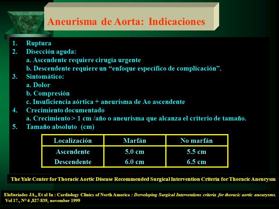 Aneurisma de Aorta: Indicaciones 1.Ruptura 2.Disección aguda: a. Ascendente requiere cirugía urgente b. Descendente requiere un enfoque específico de