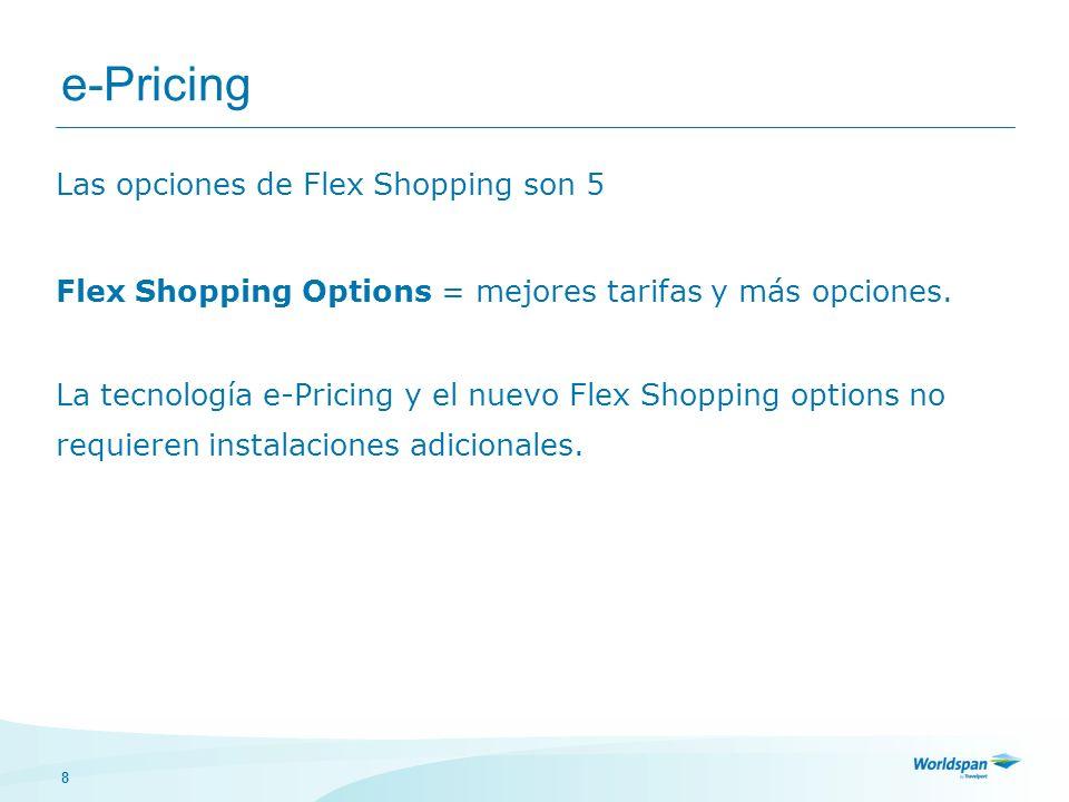 19 e-Pricing Continuación Nivel 3 > Flex More Days proporciona la habilidad de buscar hasta 3 días antes y después de las fechas de partida y/o regreso, es decir que refleja hasta 49 combinaciones de fechas.