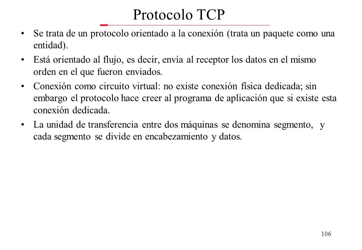 105 Relación entre direcciones IP y direcciones físicas La dirección IP suministrada al ordenador siempre va relacionada con una dirección física. Por