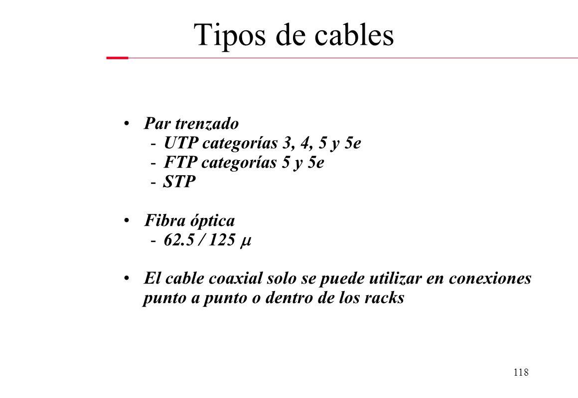 117 FIBRA OPTICA: - La transmisión de información se hace a través de pulsos de luz. - Un pulso de luz puede utilizarse para indicar un bit de valor 1