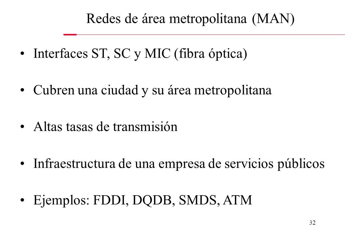31 Interfaces DB-9, DB-15, RJ-11, RJ-45, BNC, ST, SC y MIC Cubren un edificio o un campus Altas tasas de transmisión La infraestructura es propia de l