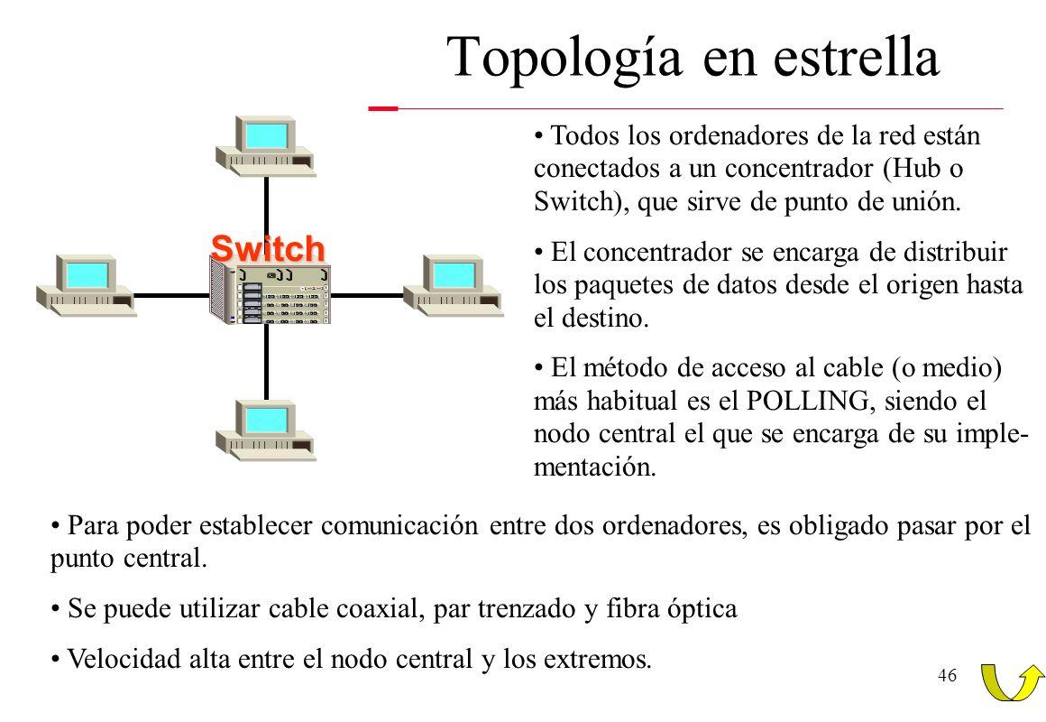 45 Topología en anillo Es un caso especial y similar a la topología en bus. El cable forma un bucle cerrado, y todas las estaciones se conectan a él.