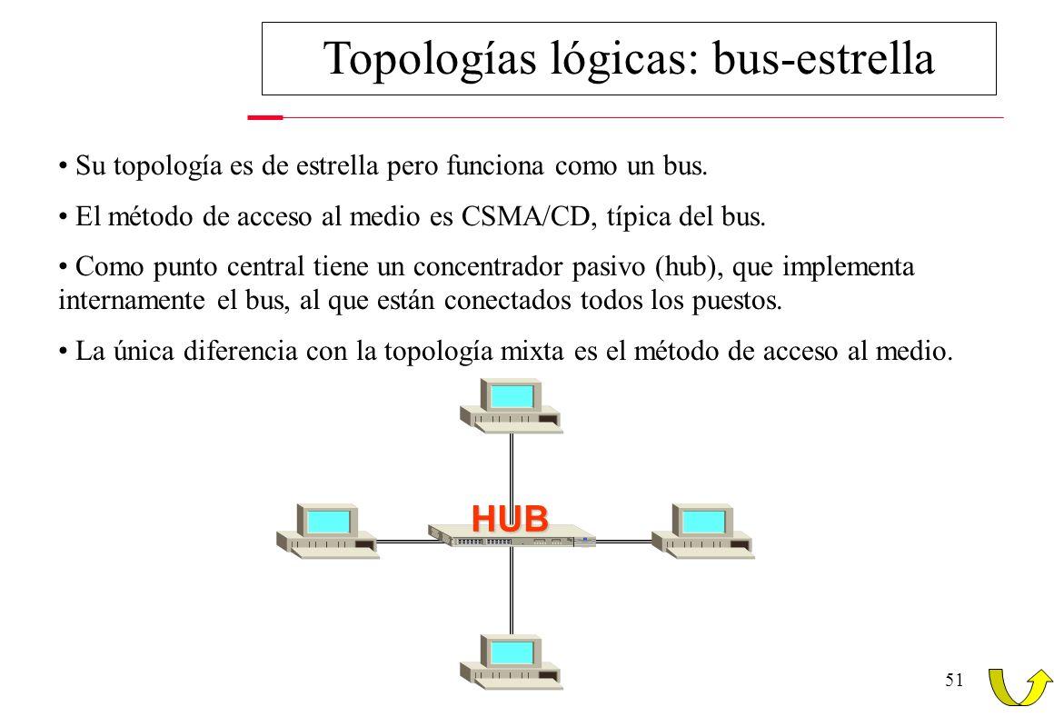 50 Topologías lógicas: anillo-estrella CONCENTRADOR PARA TOKEN-RING (MAU) Cuando la MAU detecta que un nodo se ha desconectado, puentea su entrada y s