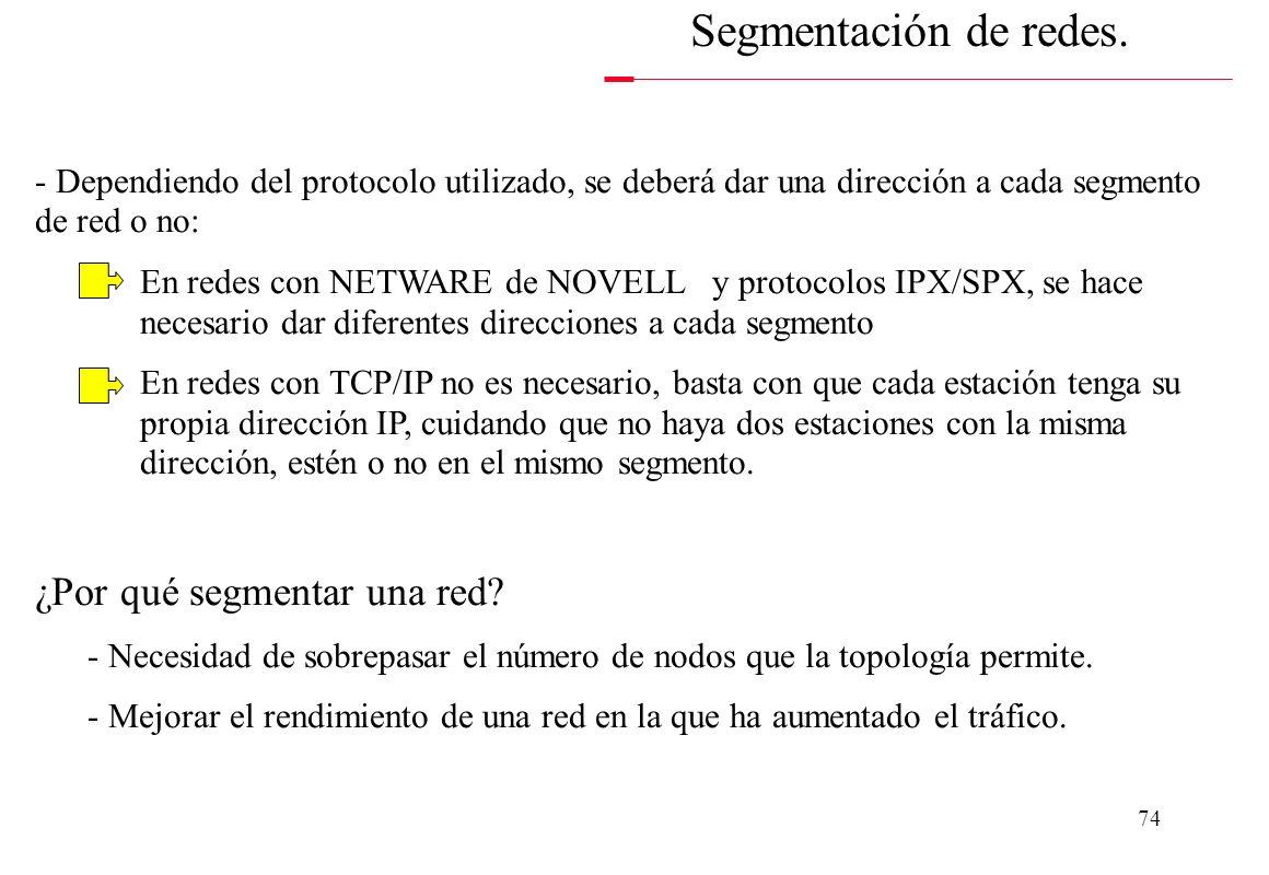 73 Segmentación de redes. SWITCHÓ ROUTER 1ª SUBRED 2ª SUBRED - El dispositivo que se utiliza para segmentar redes debe ser inteligente ya que debe ser