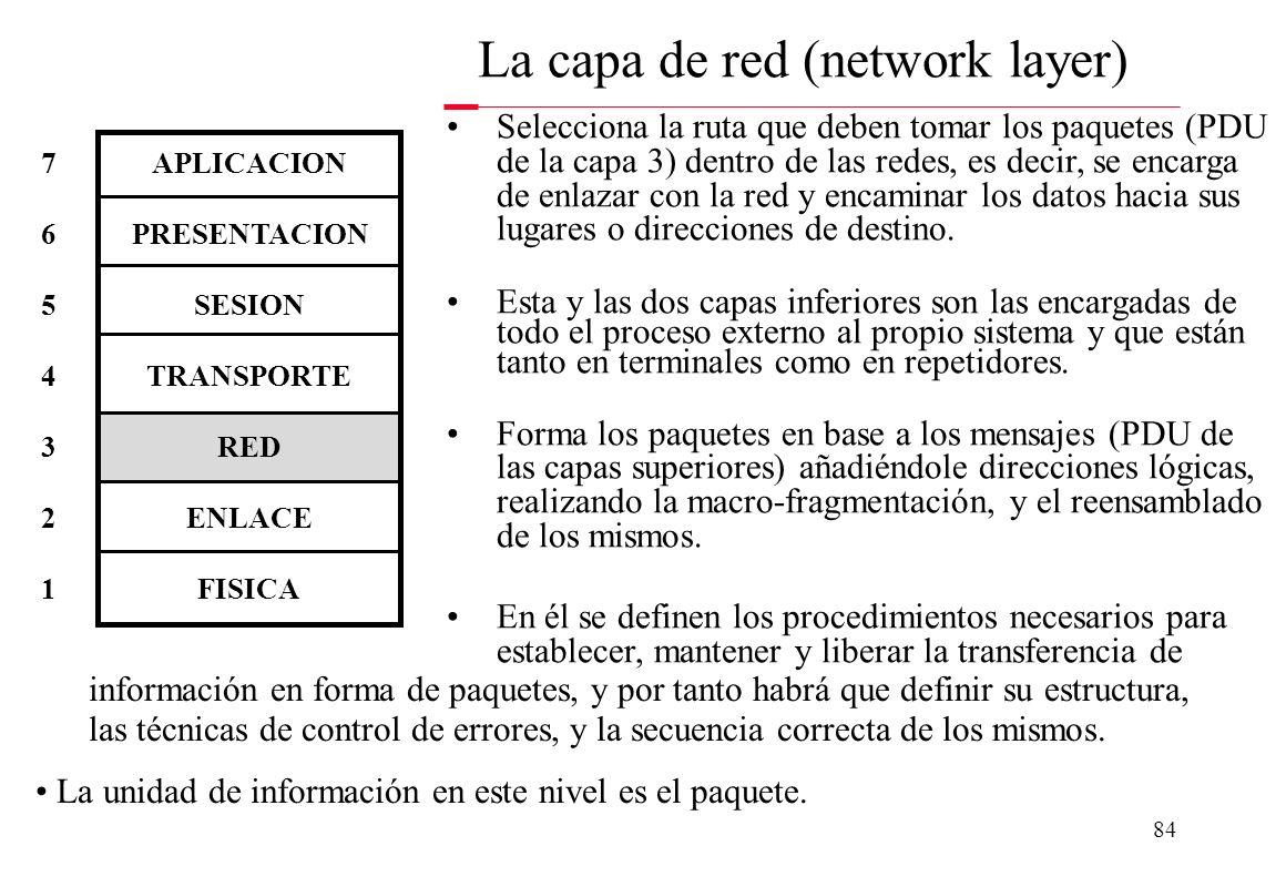 83 Para redes WAN es una capa monolítica, pero para redes LAN y MAN está formada por dos subcapas: –MAC (Media Access Control): subcapa más relacionad