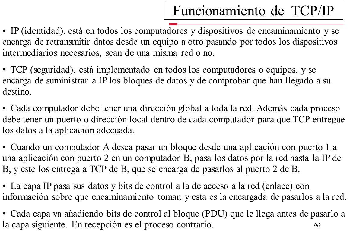 95 Principales características de TCP/IP: - Utiliza conmutación de paquetes. - Proporciona una conexión fiable entre dos máquinas en cualquier punto d