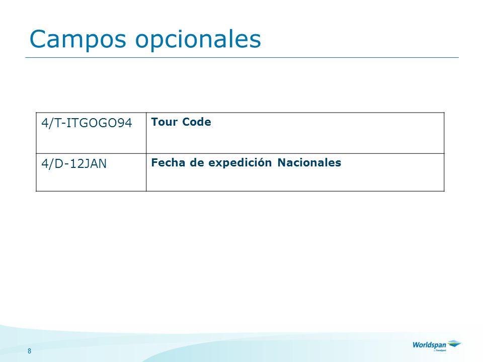 8 4/T-ITGOGO94 Tour Code 4/D-12JAN Fecha de expedición Nacionales Campos opcionales