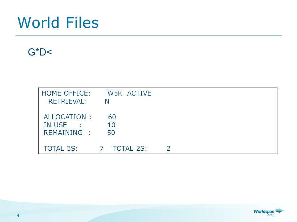 4 World Files HOME OFFICE: W5K ACTIVE RETRIEVAL: N ALLOCATION : 60 IN USE : 10 REMAINING : 50 TOTAL 3S: 7 TOTAL 2S: 2 G*D<