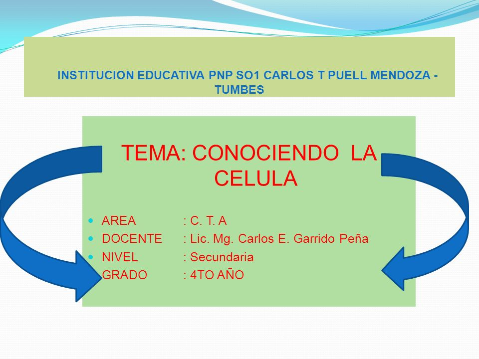 INSTITUCION EDUCATIVA PNP SO1 CARLOS T PUELL MENDOZA - TUMBES TEMA: CONOCIENDO LA CELULA AREA : C. T. A DOCENTE: Lic. Mg. Carlos E. Garrido Peña NIVEL