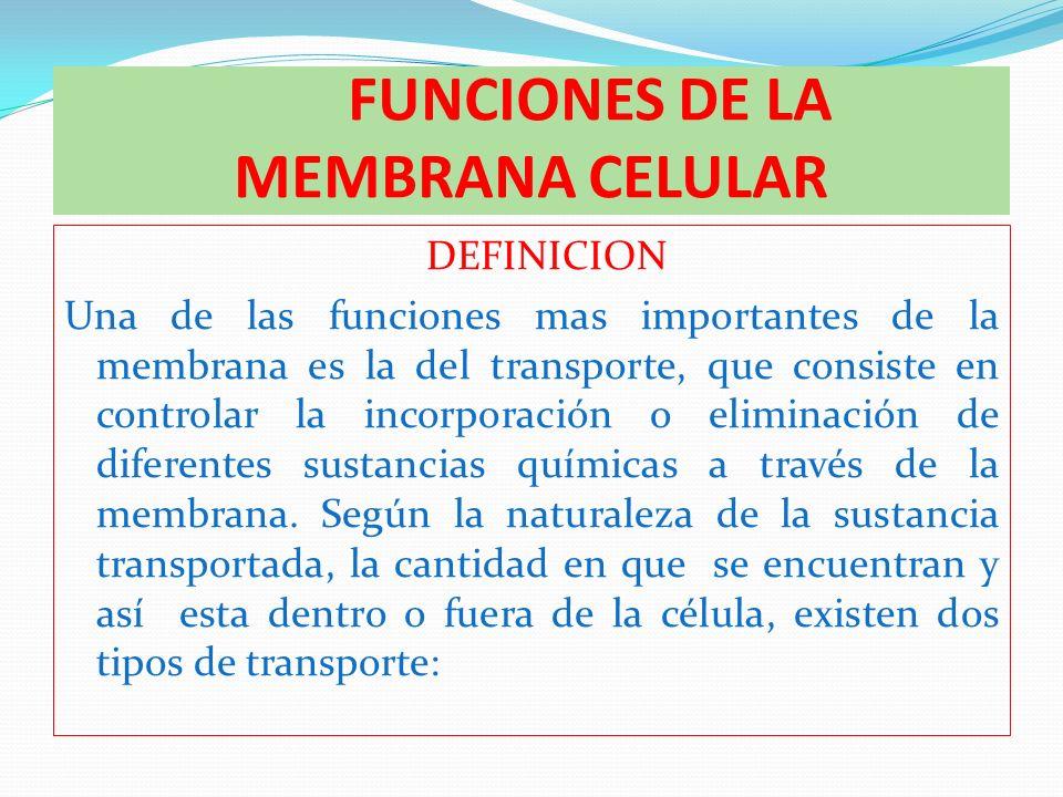 FUNCIONES DE LA MEMBRANA CELULAR DEFINICION Una de las funciones mas importantes de la membrana es la del transporte, que consiste en controlar la inc