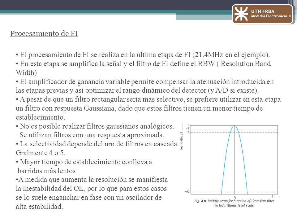 UTN FRBA Medidas Electrónicas II Procesamiento de FI El procesamiento de FI se realiza en la ultima etapa de FI (21.4MHz en el ejemplo). En esta etapa