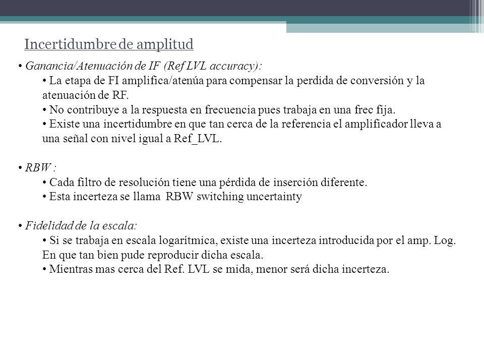 Incertidumbre de amplitud Ganancia/Atenuación de IF (Ref LVL accuracy): La etapa de FI amplifica/atenúa para compensar la perdida de conversión y la a
