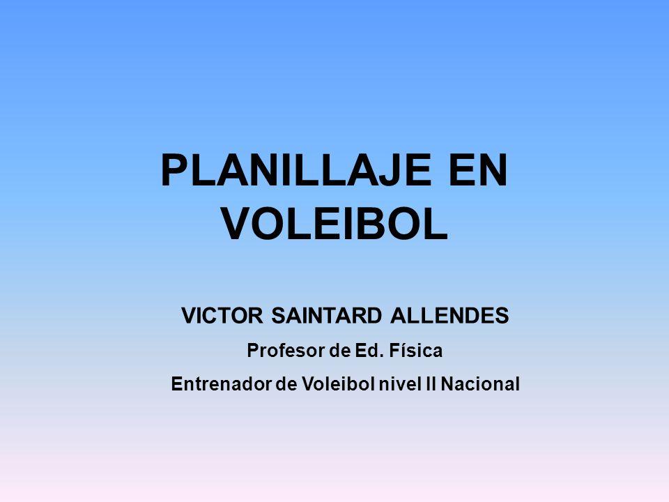 VICTOR SAINTARD ALLENDES Profesor de Ed. Física Entrenador de Voleibol nivel II Nacional PLANILLAJE EN VOLEIBOL