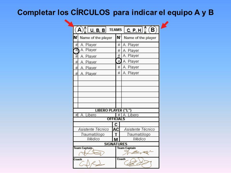 # A. Player Completar los CÍRCULOS para indicar el equipo A y B # A. Player # A. Libero AB U B B C P H Asistente Técnico Traumatólogo Médico Asistente