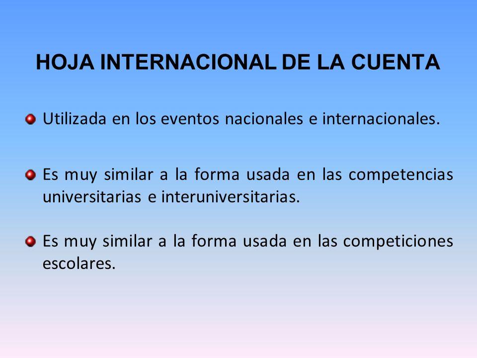HOJA INTERNACIONAL DE LA CUENTA Utilizada en los eventos nacionales e internacionales. Es muy similar a la forma usada en las competencias universitar