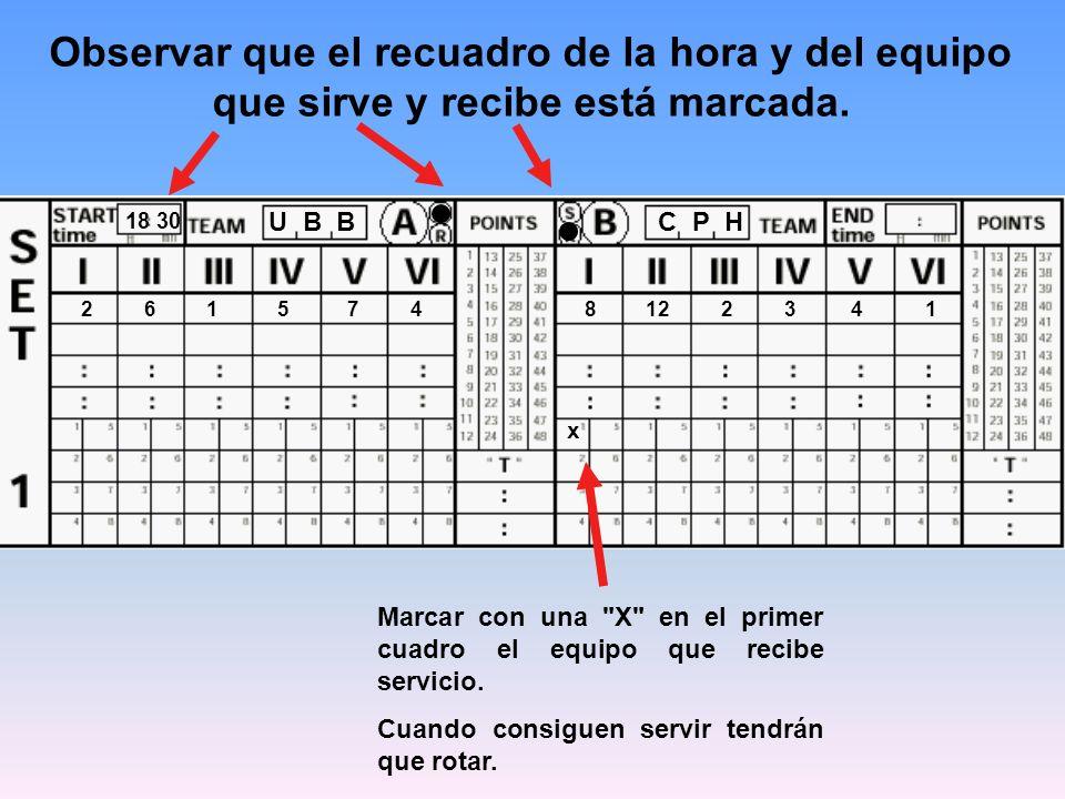 18 30 C P HU B B 8122341 Observar que el recuadro de la hora y del equipo que sirve y recibe está marcada. 261574 Marcar con una