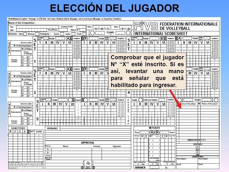 ELECCIÓN DEL JUGADOR Comprobar que el jugador N° X esté inscrito.