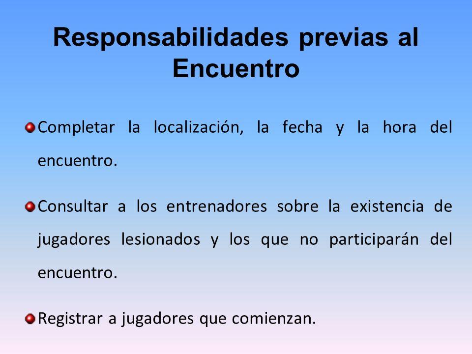 Responsabilidades previas al Encuentro Completar la localización, la fecha y la hora del encuentro.