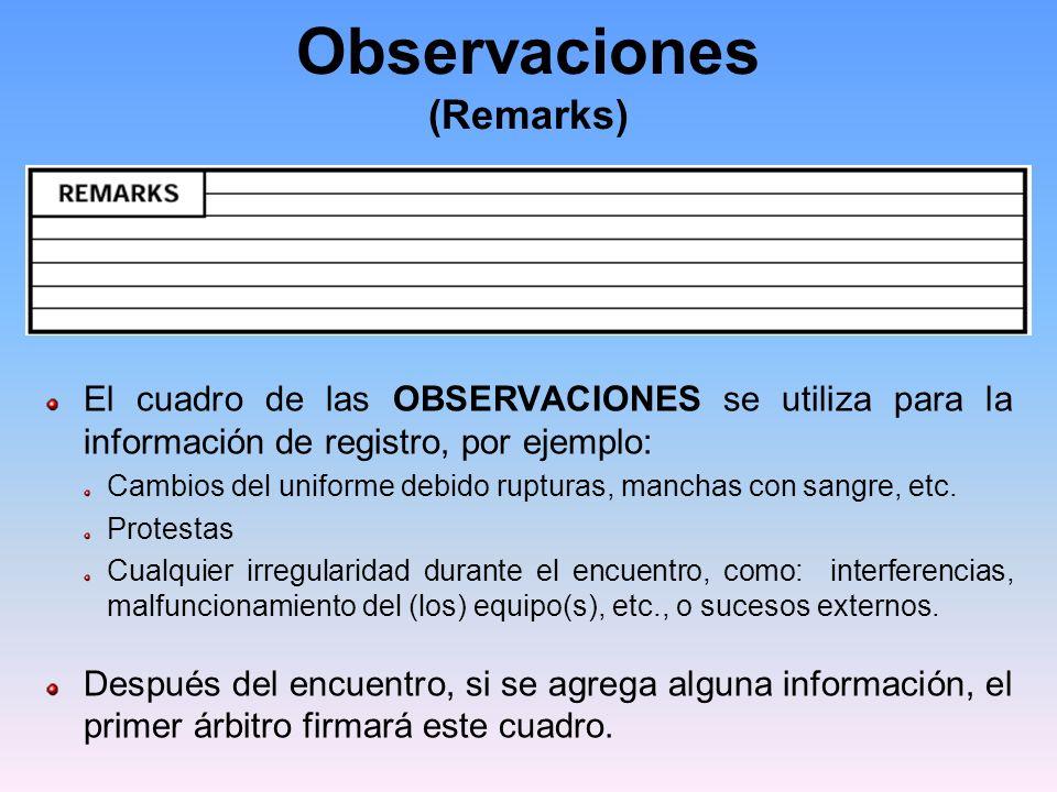 Observaciones (Remarks) El cuadro de las OBSERVACIONES se utiliza para la información de registro, por ejemplo: Cambios del uniforme debido rupturas, manchas con sangre, etc.