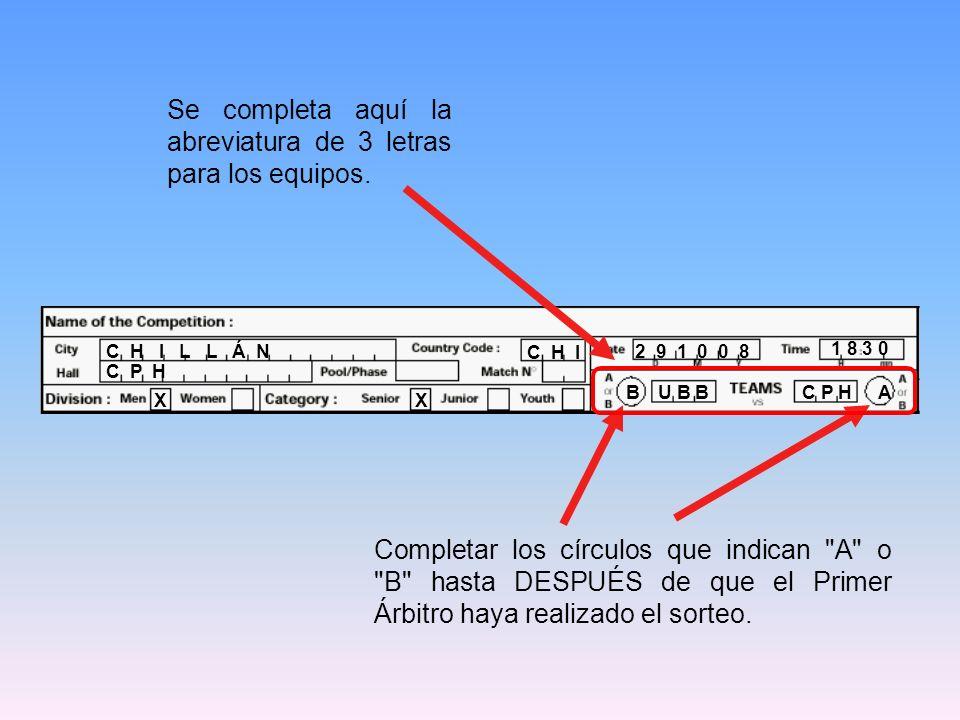 18 30 C P H 8 12 23 4 1 10 U B B 8122341 …Comenzar con la posición derecha inferior del Line Up e ir de izquierda a derecha en la Planilla de Anotación.