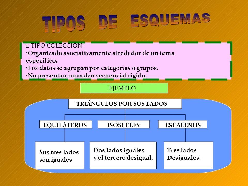 1. TIPO COLECCIÓN: Organizado asociativamente alrededor de un tema específico. Los datos se agrupan por categorías o grupos. No presentan un orden sec