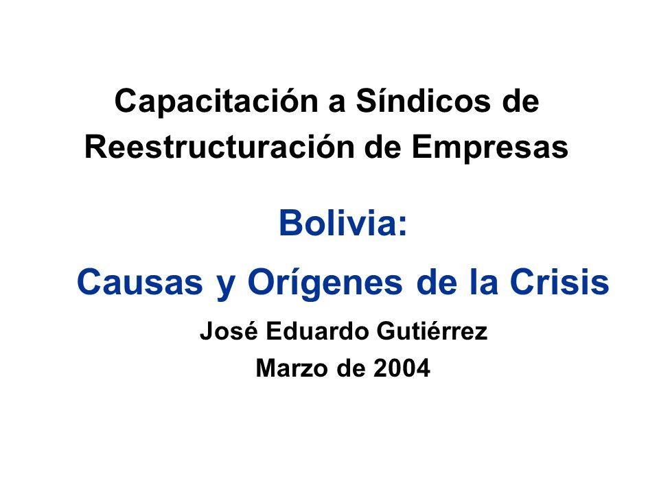 Capacitación a Síndicos de Reestructuración de Empresas Bolivia: Causas y Orígenes de la Crisis José Eduardo Gutiérrez Marzo de 2004