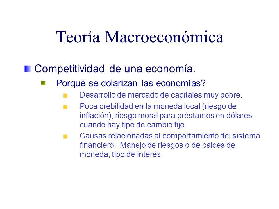 Teoría Macroeconómica Competitividad de una economía. Porqué se dolarizan las economías? Desarrollo de mercado de capitales muy pobre. Poca crebilidad