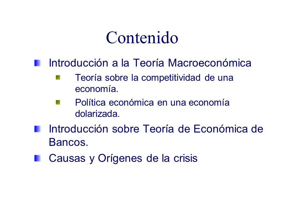 Contenido Introducción a la Teoría Macroeconómica Teoría sobre la competitividad de una economía. Política económica en una economía dolarizada. Intro
