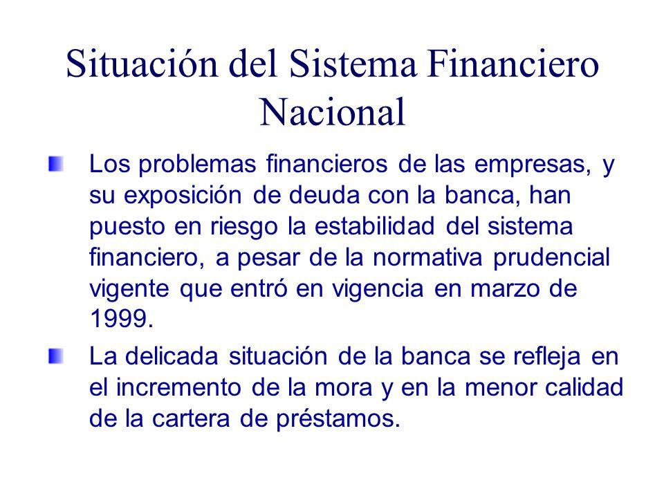 Situación del Sistema Financiero Nacional Los problemas financieros de las empresas, y su exposición de deuda con la banca, han puesto en riesgo la estabilidad del sistema financiero, a pesar de la normativa prudencial vigente que entró en vigencia en marzo de 1999.