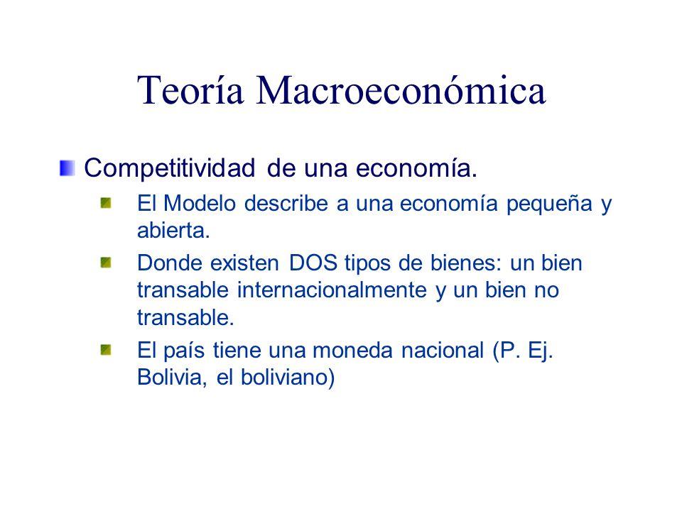 Teoría Macroeconómica Competitividad de una economía. El Modelo describe a una economía pequeña y abierta. Donde existen DOS tipos de bienes: un bien