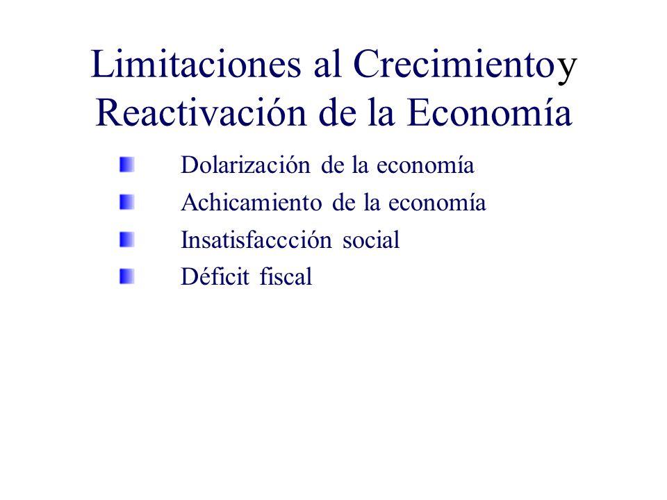 Limitaciones al Crecimientoy Reactivación de la Economía Dolarización de la economía Achicamiento de la economía Insatisfaccción social Déficit fiscal