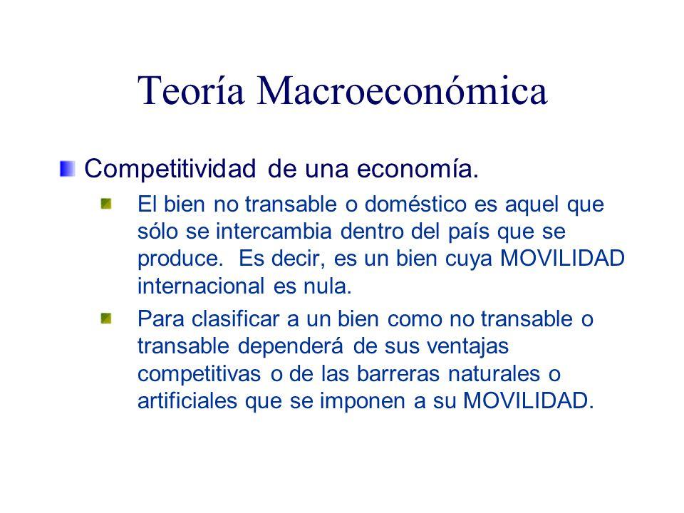 Teoría Macroeconómica Competitividad de una economía. El bien no transable o doméstico es aquel que sólo se intercambia dentro del país que se produce
